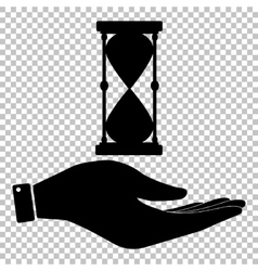 Hourglass sign save or protect symbol vector