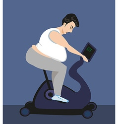 Cycling fat man on bike in gym vector