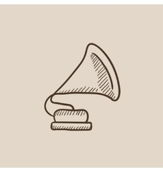 Gramophone sketch icon vector