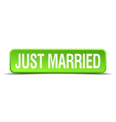 Just married green 3d realistic square isolated vector