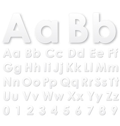 Alphabet gray pseudo 3d letters on a white vector