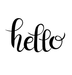 Hello script hand written lettering inscription vector