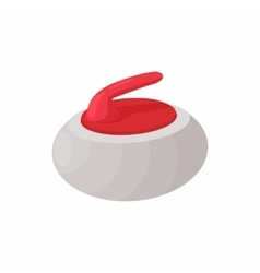 Curling stone icon cartoon style vector