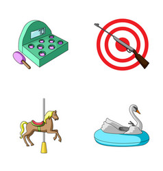 A game with a bat a target with a gun a horse on vector