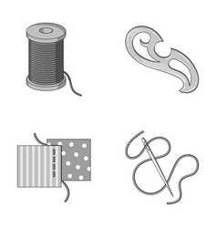 a spool with threads a needle a curl a seam on vector image