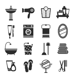 Bathroom icon set black and white vector image