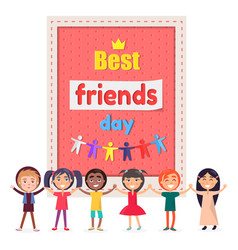 Best friends day poster with cheerful children vector