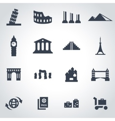 black landmarks icon set vector image vector image