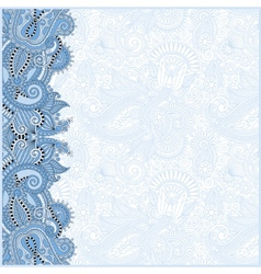 blue colour decorative pattern of ukrainian ethnic vector image