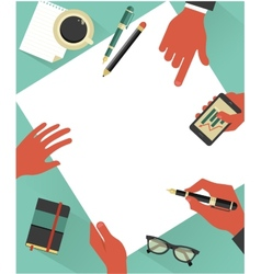 Business meeting background with hands vector