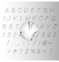 Calligraphic black handwritten alphabet vector image
