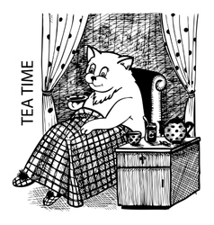 Cat drinking tea vector image vector image