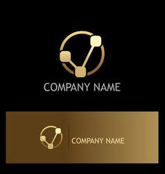 connection technology letter v gold logo vector image