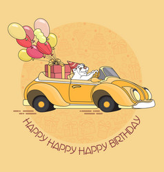 Cute white bear with balloons in yellow toy car vector