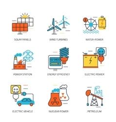 Energy sources line emblem vector