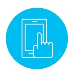 Finger pointing at smart phone line icon vector image vector image