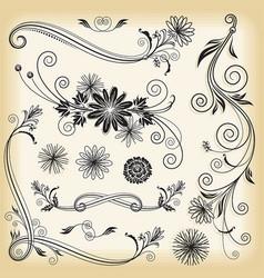 floral decorative elements vector image