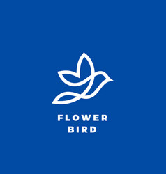 Flower bird abstract icon label or logo vector
