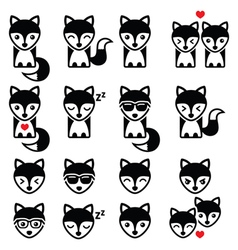 Fox cute character icons wildlife concept vector