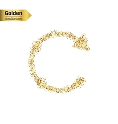 Gold glitter icon of back arrow isolated on vector
