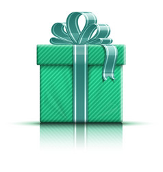 Green gift box with ribbon vector image vector image