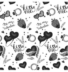 hearts seamless pattern wedding background vector image vector image