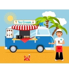 Ice cream truck and iceman vector