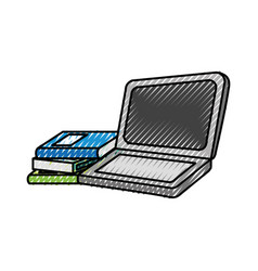 Laptop computer with books vector