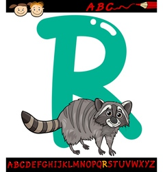 letter r for raccoon cartoon vector image vector image