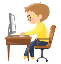 Man typing on keyboard vector
