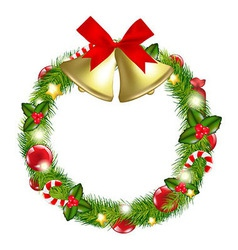Merry Christmas Wreath With Bells vector image
