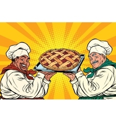 Multi-ethnic chefs with berry pie vector