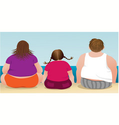 overweight family vector image