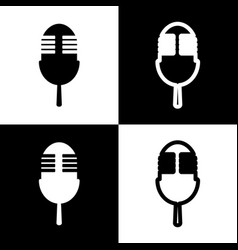 Retro microphone sign black and white vector