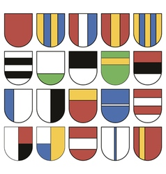 Set of twenty different shields vector image