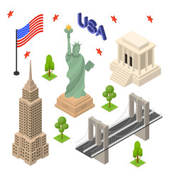 symbol of usa icons set concept travel isometric vector image vector image