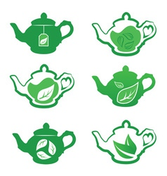 Teapot with green tea vector image