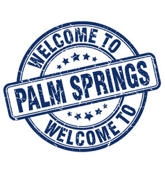 Welcome to palm springs blue round vintage stamp vector