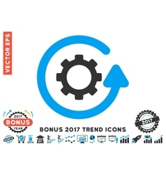 Gearwheel rotation direction flat icon with 2017 vector