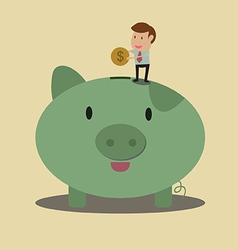 Businessman put coin to piggy bank vector