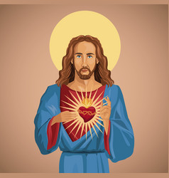 Jesus christ sacred heart catholic vector