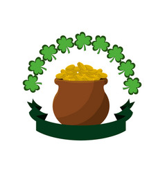Many coins inside of flowerpot and clovers vector