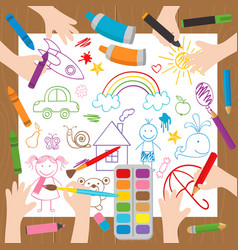 Children draw at the desk vector
