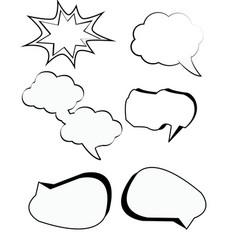 Comic bubbles cartoon text boxes set with cloud vector