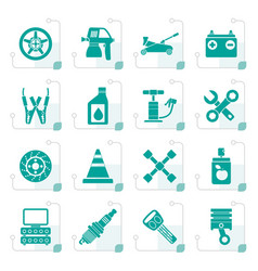 Stylized transportation and car repair icons vector