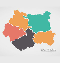 West yorkshire england map with states and modern vector