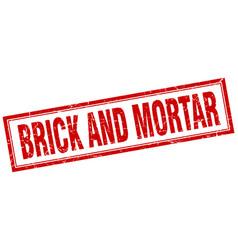Brick and mortar square stamp vector