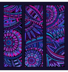 Abstract ethnic pattern card set vector
