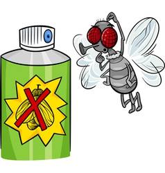 Fly and bug spray cartoon vector