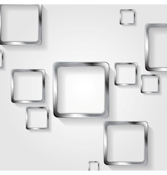 Metallic squares on white background vector